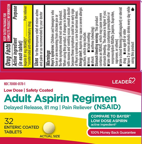 Leader Adult Aspirin Regimen Enteric Coated Tabs, 32ct 096295130270A125