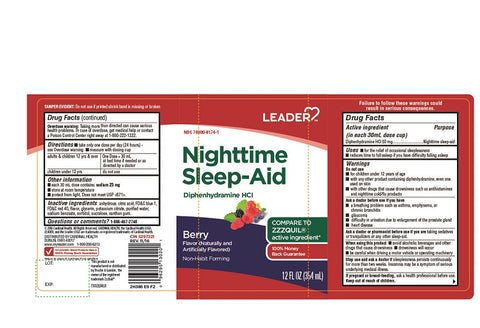 Leader Nighttime Sleep-Aid Liquid, Berry, 12oz 096295130201A294