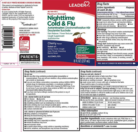 Leader Night-Time Cold & Flu Liquid, Cherry, 8oz 096295130164A375