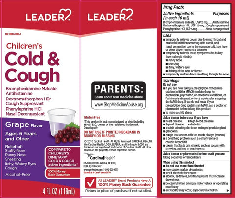 Leader Children's Cold & Cough Liquid, Grape, 4oz 096295130393A268