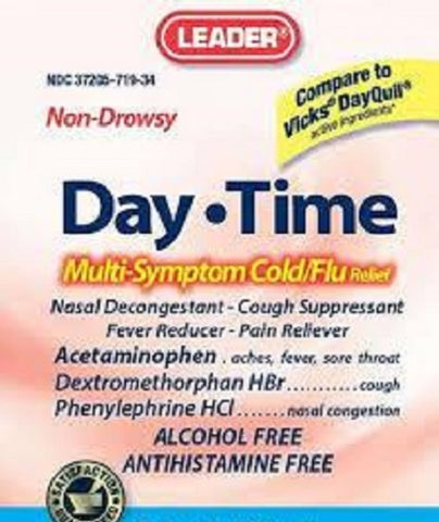 Leader Daytime Cold & Flu Liquid Alcohol Free, 12oz 096295130416S315
