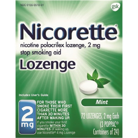 Nicorette Lozenges, Mint Flavored, 2mg, 72ct 307661500130C3362
