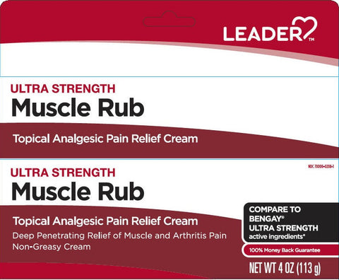 Leader Ultra Strength Muscle Pain Relief Cream, 4oz 096295130621A344