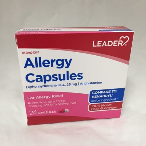 Leader Allergy Diphenhydramine 25mg Capsules, 24ct 096295130645S160
