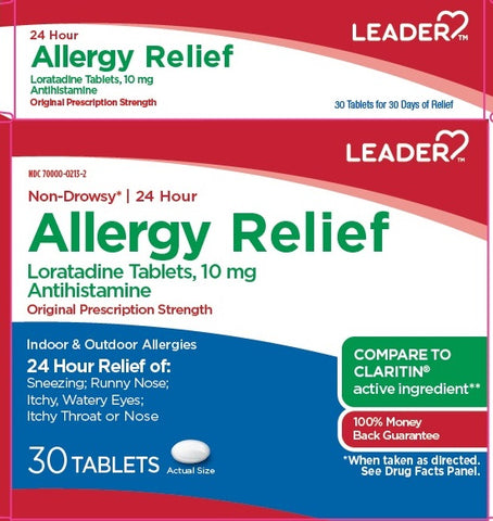 Leader 24hr Allergy Relief Tablets, 10mg, 30ct 096295130720A380