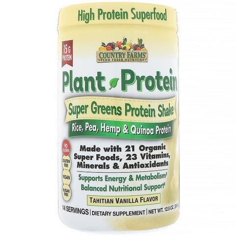 Country Farms, Super Greens, Plant Protein, Van 12.8oz 035046095727T1246