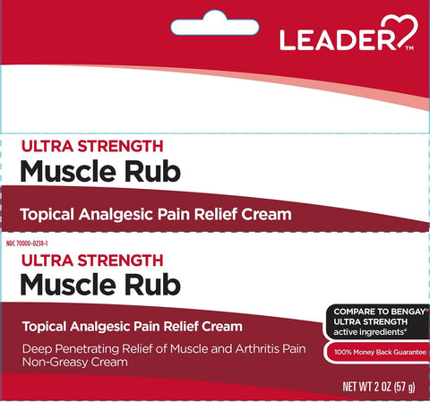 Leader Ultra Strength Muscle Rub Cream, 2oz 096295131215A277