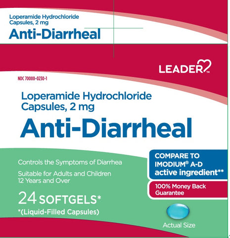 Leader Anti-Diarrheal Softgels, 2mg, 24ct 096295130942A404