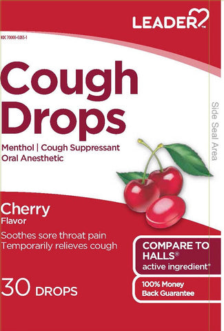 Leader Cough Drops, Cherry, 30ct 096295131680A069