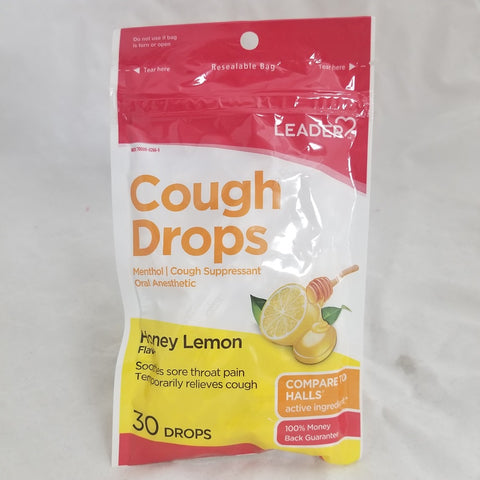 Leader Cough Drops, 7.5mg, Honey Lemon, 30ct 096295131703A069