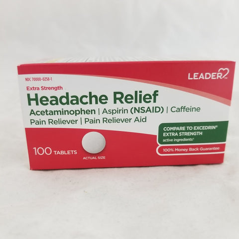 Leader Extra Strength Headache Relief Tablets, 100ct 096295131581A345