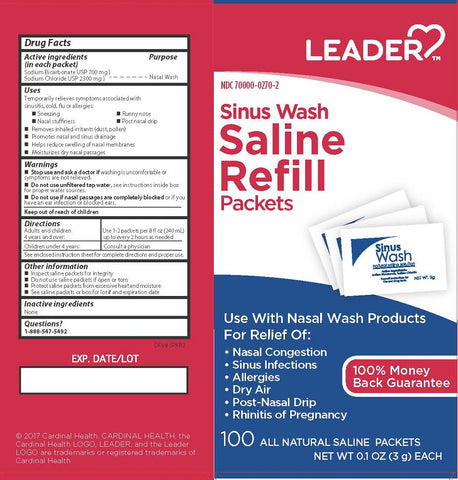 Leader Sinus Wash Saline Refill Packets, 100ct 096295131741A606