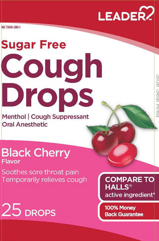 Leader Sugar Free Cough Drops, Black Cherry, 25ct 096295131765A091