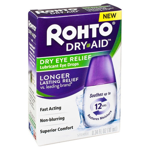 Rohto Dry Aid Dry Eye Relief Eye Drops, 0.34oz 310742011135A841