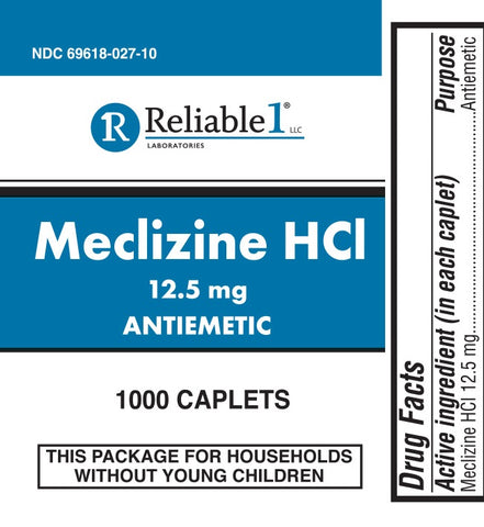 Reliable Labs Meclizine HCl Caplets, 12.5mg, 100ct 369618027015J275