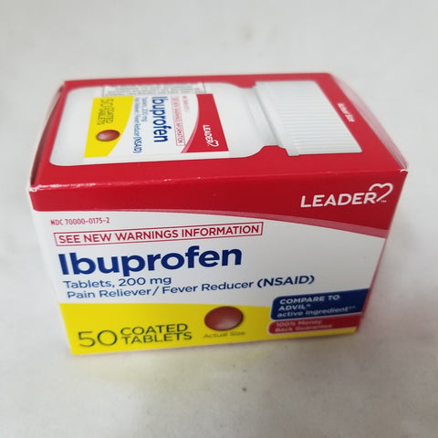 Leader Ibuprofen Coated Tablets, 200mg, 50ct 096295132212A228