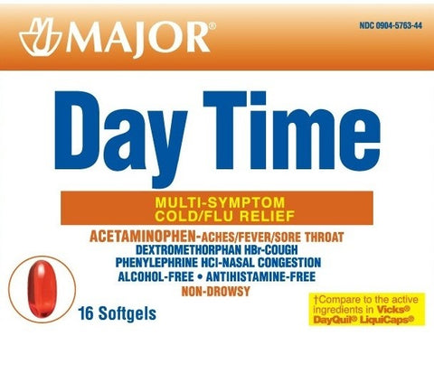 Major Day Time Multi-Symptom Cold/Flu Relief Sg, 16ct 309046607441T252