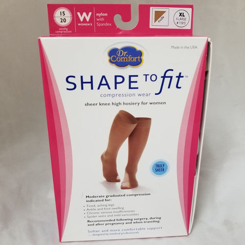Shape to Fit Sheer Knee Highs, Women, Nude, XL, 1pr 038384191533A834