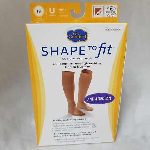 Shape to Fit Anti-Embolism Knee Highs, Beige, XL, 1pr 888912221542A976
