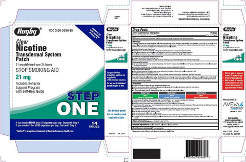 Rugby Clear Nicotine Transdermal Patch, 21mg, 7ct 305365894531F1394
