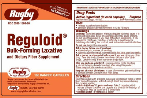 Rugby Reguloid Bulk-Forming Laxative Capsules, 160ct 005361135606A705