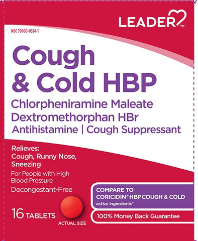 Leader Cough & Cold HBP Tablets, 16ct 096295132779A245