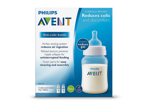 Phillips Avent Anti-Colic Baby Bottle, Clear, 9ozX2ct 075020062413A824