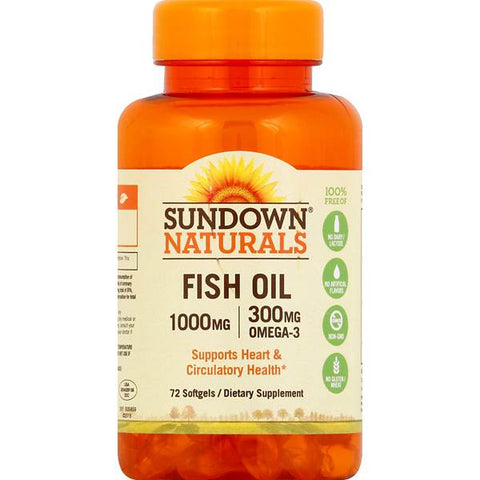 Sundown Naturals Fish Oil w/Omega-3 Softgels, 72ct 030768037208A416