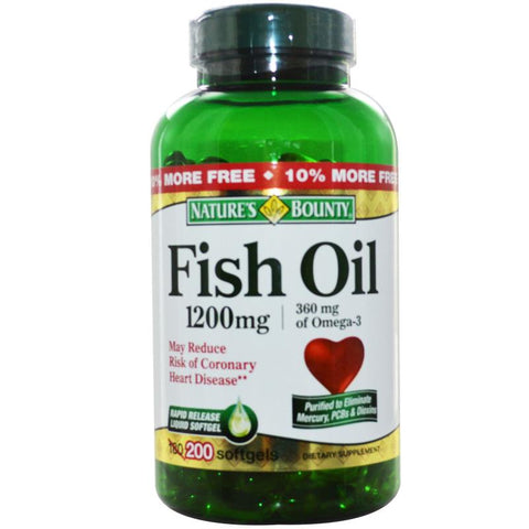 Nature's Bounty Fish Oil Softgels, 1200mg, 200ct 074312131028A1118