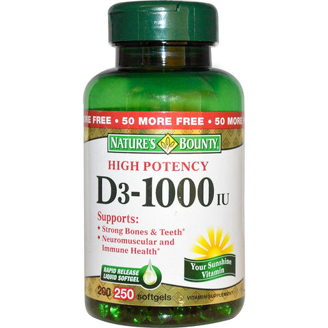 Nature's Bounty Vitamin D3 Softgels, 1000IU, 250ct 074312156069A703