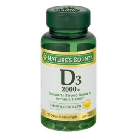 Nature's Bounty Vitamin D3 Softgels, 2000IU, 150ct 074312176210A670