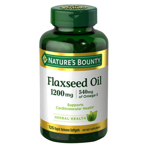 Nature's Bounty Flaxseed Oil + Omega 3 Softgels, 125ct 074312133213A722