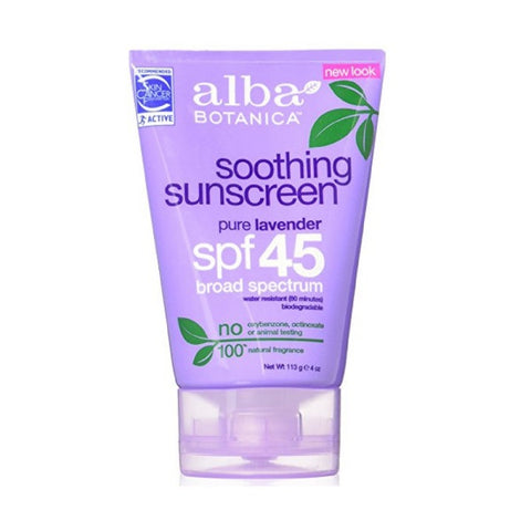 Alba Botanica Soothing Sunscreen, Lavender, SPF45, 4oz 724742003937A540