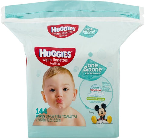 Huggies One & Done Scented Refreshing Wipes, 144ct 036000435795A515