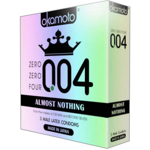 Okamoto Zero Zero Four Latex Condoms, 3ct 028373040034S239