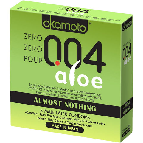 Okamoto Zero Zero Four Latex Condoms w/Aloe, 3ct 028373050033S342