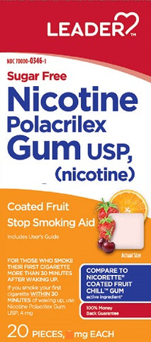 Leader Nicotine Gum, 4mg, Sugar Free, Fruit, 20 ct 096295133806C615