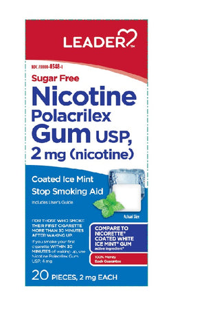 Leader Nicotine Gum, 2mg, Coated, Ice Mint, SF, 20 ct 096295133769C458