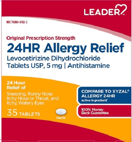 Leader 24hr Allergy Relief Tablets, 35ct 096295134124A701