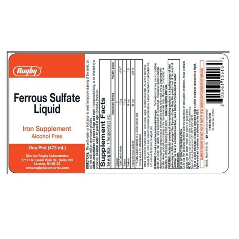 Rugby Ferrous Sulfate Liquid, 473ml 305361155162A427