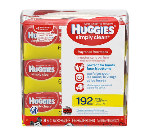 Huggies Simply Clean Fragrance Free Wipes, 192ct 036000487565A582