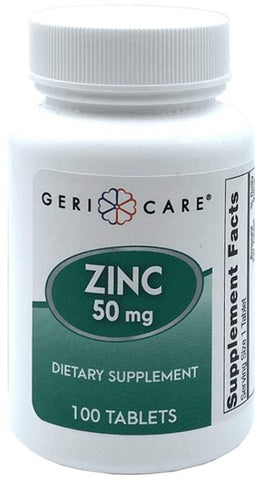 GeriCare Gericare Zinc Sulfate 50mg Dietary Supplement, 100 Count PACK OF 2