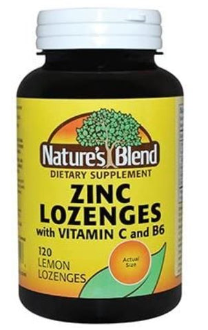 Nature's Blend Zinc Lozenges + Vitamin C & B6,120 Lemon Lozenges