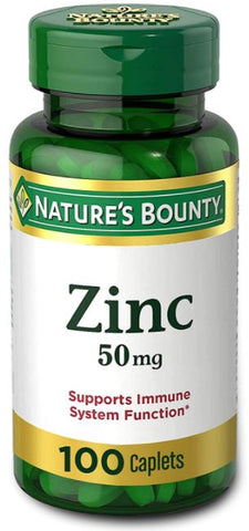 Nature's Bounty Chelated Zinc 50 mg, 100 Caplets PACK OF 2