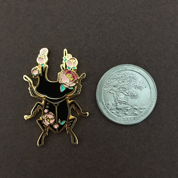 Insect Spirits: Stag Beetle Enamel Pin (Pink)
