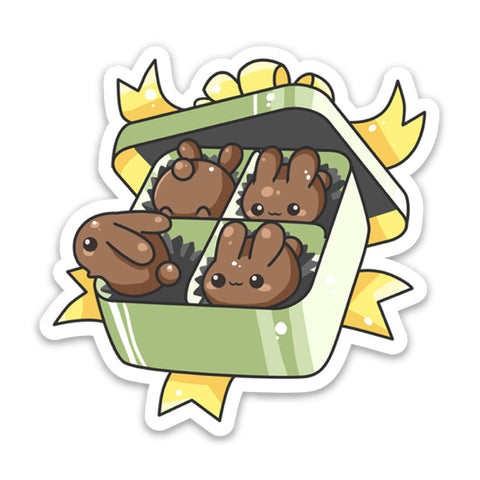 Box of Chocolate Bunnies Vinyl Sticker
