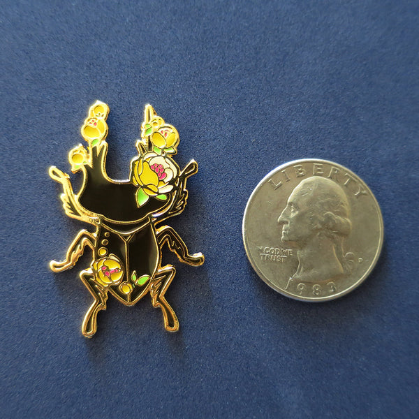 Insect Spirit: Flower Stag Beetle pin (Yellow)