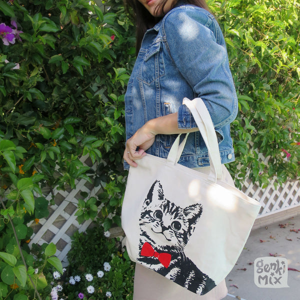 Tabby Cat with Red bow Canvas Tote