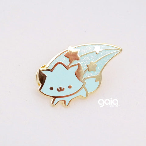 Glitter Birth Stone Kitten Star Pin (March)