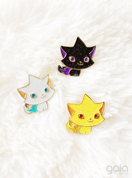 Glitter Kitten Star Pin (Black)